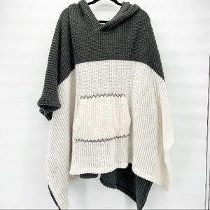 Free People OS Oversized Hooded Poncho Sweater